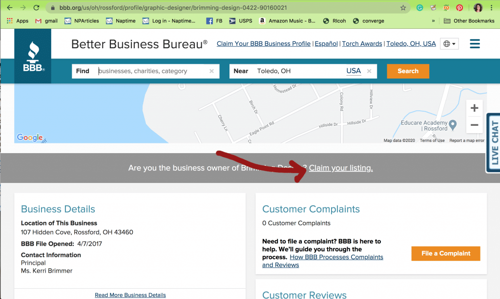 claim your free bbb listing