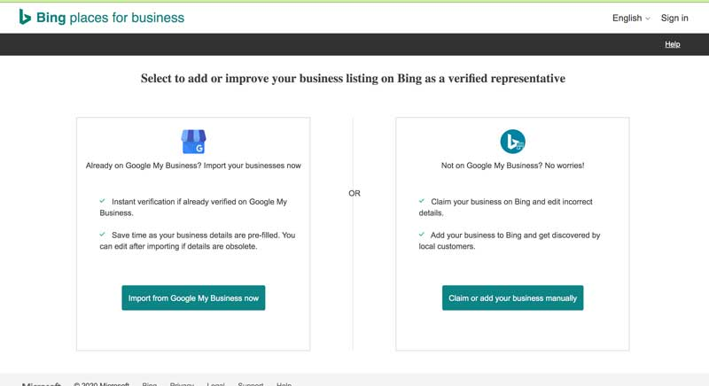 bing places for business listing