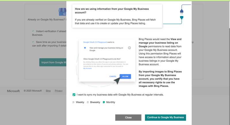 link bing listing with google